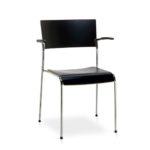 450R Ritmo, mit Armlehnen, Vierfuß, Konferenzstuhl, seitliche Front_Standard_schwarz
