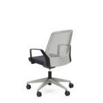 BUDDYis3 270B, Bürodrehstuhl, Netzrücken, weiß, schwarz, Armlehnen, arretierbare Wippfunktion, Rückansicht