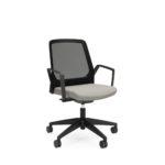 BUDDYis3 270B, Bürodrehstuhl, Netzrücken, weiß, schwarz, Armlehnen, arretierbare Wippfunktion, seitliche Front