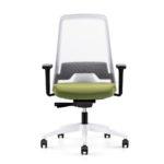 EVERYis1 182E Bürodrehstuhl weiß grün, mit Armlehnen,Front