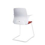 EVERYis1 580E Konferenzstuhl, Freischwinger, weiß rot mit Armlehnen, Rückansicht