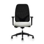 Geos 17G2 Bürodrehstuhl weiß, schwarz, mit Armlehnen, Front
