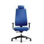 Goal 322G Bürodrehstuhl, blau, mit Armlehnen und Kopfstütze, Front