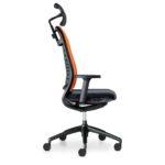 Hero 265H, Bürodrehstuhl, mit Armlehnen, mit Kopfstütze, schwarz orange, Seitenansicht