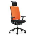 Hero 265H, Bürodrehstuhl, mit Armlehnen, mit Kopfstütze, schwarz orange, seitliche Front