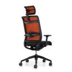 Hero 275H, Bürodrehstuhl, Polster, Netzrücken, Kopfstütze, Armlehnen, schwarz orange, Rückansicht