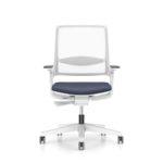 MOVYis3_14M3, Bürodrehstuhl, mit Armlehnen, Netzrücken weiß mit Lordosenstütze, Sitz grau, Front