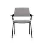 MOVYis3_46M0, Konferenzstuhl, Vierfuß, mit Armlehnen, grau, Front