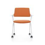 MOVYis3_46M5, Konferenzstuhl, Vierfuß mit Rollen, Armlehnen, orange, weiß, Front