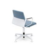 VINTAGEis5_1V10 Drehstuhl, stehend, mit Armlehnen, weiß, blau, seitliche Rückansicht