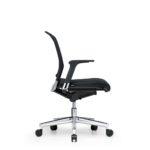 Xantos X142, Bürodrehstuhl, Armlehnen, Netzrücken, schwarz, Seitenansicht