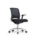 Xantos X142, Bürodrehstuhl, Armlehnen, Netzrücken, schwarz, seitliche Front