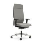 YOSTERis3_365Y, Chefsessel, Bürodrehstuhl, mit Armlehnen, Kopfstütze, hellgrau, Seitenansicht