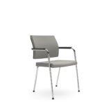 YOSTERis3_450Y, Konferenzstuhl, Besucherstuhl, Vierfuß, Polster, grau, mit Armlehnen, seitliche Front_Standard