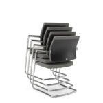 YOSTERis3_550Y, Konferenzstuhl, Besucherstuhl, Freischwinger, stapelbar, mit Armlehnen, grau, Polster, seitliche Front